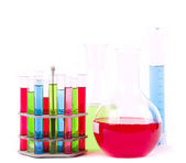 Glass laboratory equipment for science research on white background — Stock Photo