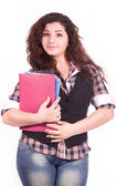 Beautiful young student girl with notebook — Stock Photo