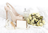 The beautiful bridal shoes, lace with banner add — Stock Photo