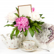 Vintage elegant cups with flowers — Stock Photo