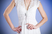 Young woman in retro bridal dress — Stock Photo