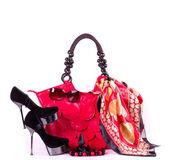 Sexy fashionable shoes, handbag and sunglasses isolated on white background — Stock Photo