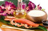 Sushi cucina giapponese tradizionale. ingredienti per il cibo giapponese — Foto Stock