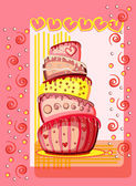 Bright birthday cake. Postcard with place for your text — Stock Vector