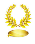 Gold laurel wreath and label for jubilee text — Stock Vector