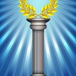Award column with golden winner laurel wreath over sky blue rays — Stock Vector