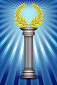 Award column with golden winner laurel wreath over sky blue rays — Stock Vector