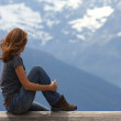 Girl looking at the mountains — Stock Photo #11294820