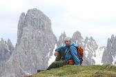 Randonneur à la montagne — Photo