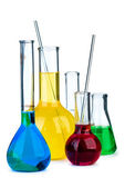 Five flasks with different chemical agents — Stock Photo