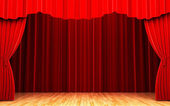 Red velvet curtain opening scene — Stock Photo