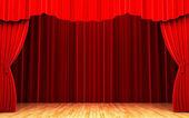 Escena de apertura de la cortina de terciopelo rojo — Foto de Stock