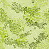 Vector seamless pattern with green dragonflies and flowers — Stock Vector