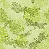 Modèle seamless vector avec libellules verts et fleurs — Vecteur