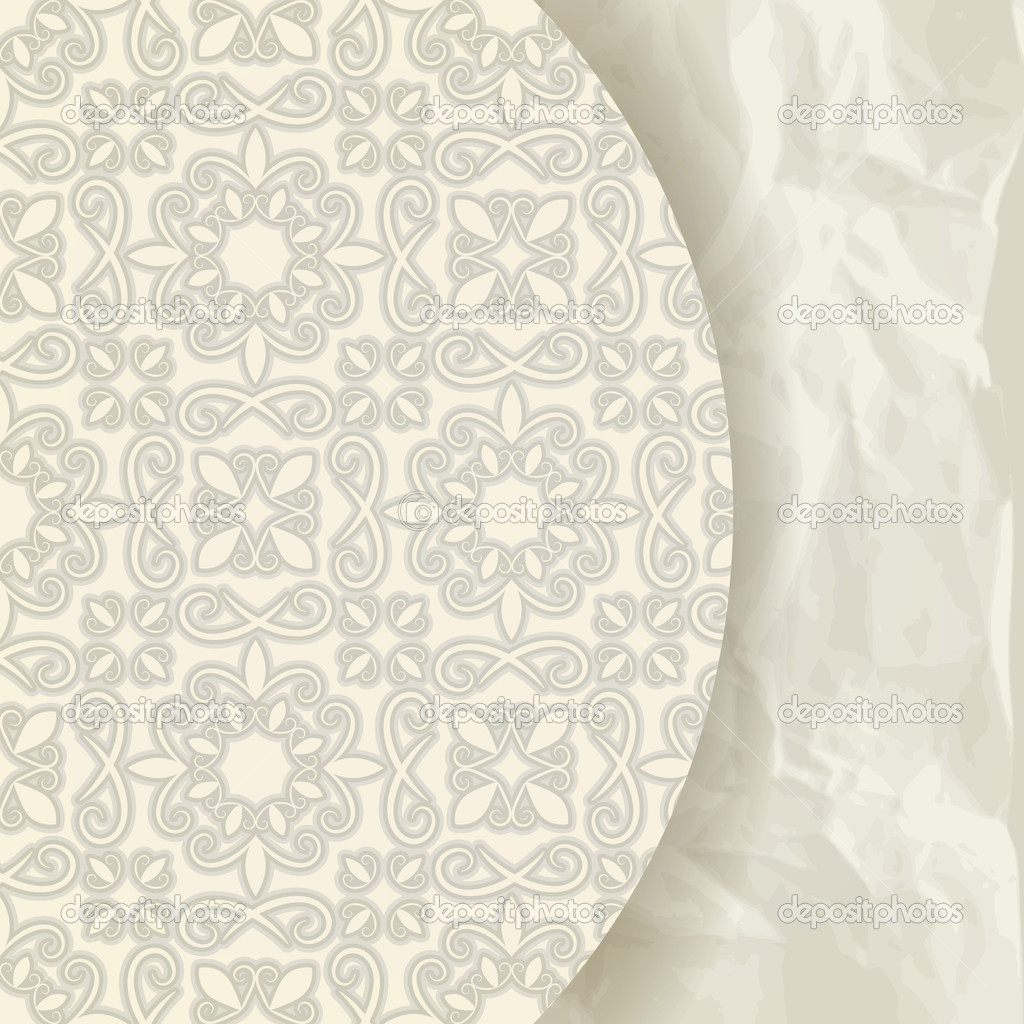 Vector floral pattern on crumpled paper texture, retro style, place for your text, eps 10, gradient mesh — Stock Vector #10821445