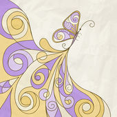 Padrão borboleta e abstrato de vetor, textura de papel amassado — Vetor de Stock