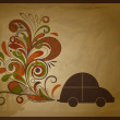 Vector eco  concept composition with a car and floral exhaust co — Imagen vectorial
