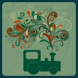 Vector eco concept with a steam train and floral pattern instead — Imagens vectoriais em stock
