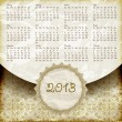 Vector 2013 Calendar in Retro Style — Stock Vector