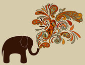 Elephant with Floral Pattern Coming from His Trunk — Stock Vector