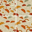 4 Vector Autumn  Seamless Patterns — Stock Vector