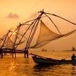 Sunset over Chinese Fishing nets in Cochin — Stock Photo
