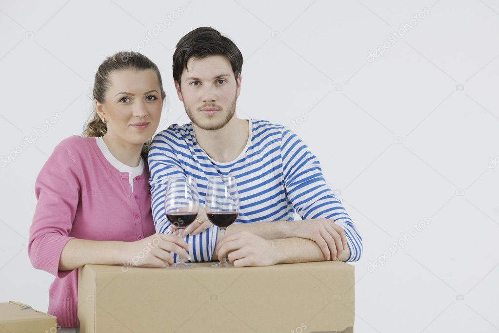 Happy Young couple moving in new home  Stock Photo #10856499