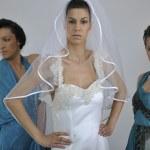 Portrait of a three beautiful woman in wedding dress — Stock Photo