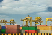 Container ship leaving the container port terminal — Stock Photo