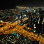 Panorama of down town Dubai city at night — Stock Photo #10994529