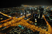 Panorama of down town Dubai city at night — Stock Photo