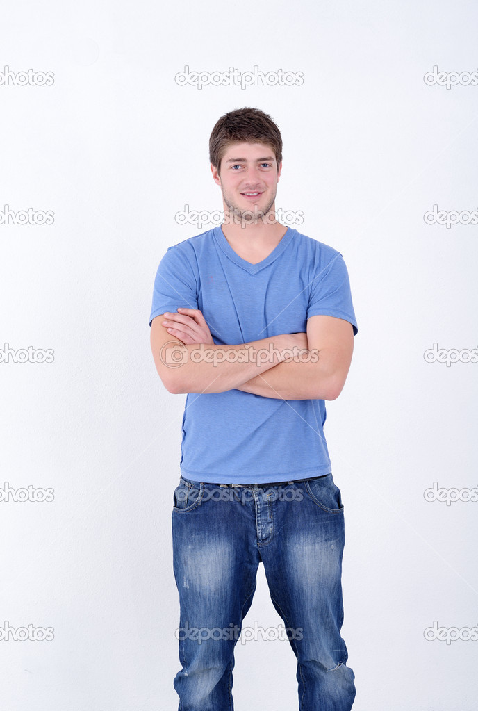 Portrait of happy young casual man isolated on white bacground — Stock Photo #11270974