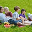 Happy family playing together in a picnic outdoors — Stock Photo #11702071