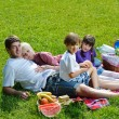 Royalty-Free Stock Photo: Happy family playing together in a picnic outdoors