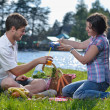 Stock Photo: Happy young couple having a picnic outdoor