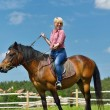 Happy woman  on  horse — Stock Photo