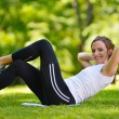 Woman stretching before fitness — Stock Photo #11937398