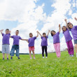 Happy kids group  have fun in nature — Stock Photo