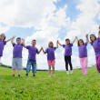 Stock Photo: Happy kids group have fun in nature