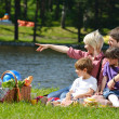 Happy family playing together in a picnic outdoors — Stock Photo #11939297