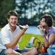 Happy young couple having a picnic outdoor — Stock Photo #11939875