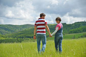 Romantic young couple in love together outdoor — Stock Photo