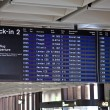 Time board showing flights, cancelled due to Volcanic eruption — Stock Photo