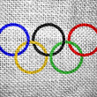 Olympic rings textured flag — Stock Photo