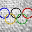 Stock Photo: Olympic rings textured flag