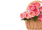 Roses in a basket. — Stock Photo