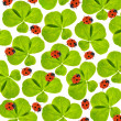 Clover leaves and ladybugs background - Stock Photo
