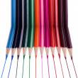 Twelve isolated color pencils — Stock Photo