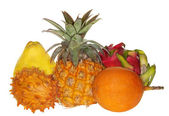 Group of exotic fruits isolated on white — Stock Photo