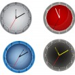 Four color clocks isolated on white — Stock Vector #12356703